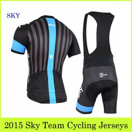 Wholesale Sky Team Cycling Jerseys Set Pro Bike Clothing With Bib Shorts Strip Jerseys Padded Pants Summer Outdoor Bicycle Wear Compressed