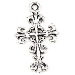Wholesale MIC X14mm Antique Silver Open Flower Cross Charm Charms Jewelry DIY New Items Hot