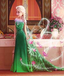 Promotion anna manteau gelé Hot Big enfants Vêtements robe en dentelle Fever Frozen Avec Cape Vêtements Filles Enfants manches courtes Elsa Anna Bow flowes Lace Yarn Robes vertes