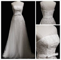 Real Picture Luxury Beaded Wedding Dresses 2015 Shiny Bridal Wedding Gowns with Sequins One Shoulder Sheer Wedding Wear with Bow MT028