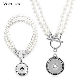Wholesale VOCHENG NOOSA Pearl Jewelry Set Ginger Snap mm Button Pendant Necklace and Bracelet NN