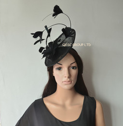 New Arrival.Black Feather Fascinator sinamay hat with feather flower and long ostrich spine for Melbourne cup,Wedding.Kentucky derby.