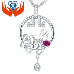 Wholesale 925 Sterling Silver Rose Pendant inlaid stone imitation micro bright silver jewelry Elegant Angel goddess bee Pendant