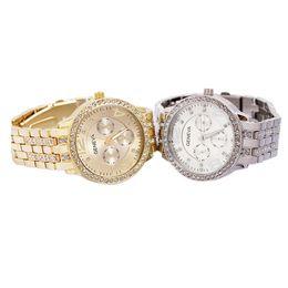 Wholesale hot Geneva Stainless Steel Watch Fashion Metal Quartz wrist watches for Men Women Unisex luxury watches Geneva Crystal Watches dhl free