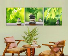 Free shipping Picture Painting Modern Canvas living room modern art paintings Art Wall Green leaves painting 3 panel T 717