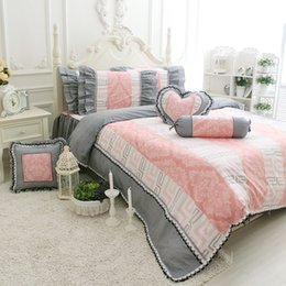 Wholesale Princess pink grey single double bedding set cotton twin full king queen ruffled home textile bedskirts pillow case duvet cover