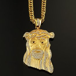 hot New Hip Hop JESUS Christ Piece diamond Pendant Necklace Gold color Men Jewelry free shipping