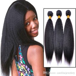 Promotion 12 24 extensions Top 3 pièces / lot Afro Kinky Straight Remy Extension de cheveux Weaving Black Women Brazilian Weave Italien grossier Light Yaki 3,4,5pcs / lot