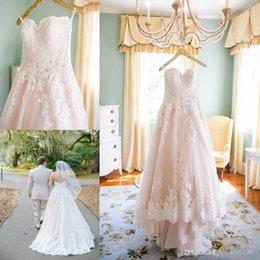Wholesale 2016 Country Plus Size Wedding Dresses Bridal Gowns Sweetheart Lace Applique Pink Wedding Dress Long Beach Vestido De Noiva South Africa