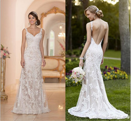Wholesale Elegant Stella York Inspired Ivory White Lace Wedding Dresses Backless Trumpet Mermaid Sweetheart Appliques Sweep Train Bridal Gown