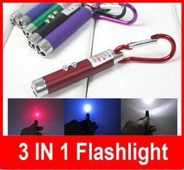 wholesale Colorful Multifunctional Triple mini flashlight infrared laser light teaching   UV money detector light   LED flashlight 3 in 1