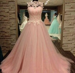 Wholesale Sexy Dance Dresses Plus Size - Pink Prom Dresses 2015 Ball Gowns High Neck Long Party Dresses Beaded Appliques A Line Sheer Wedding Prom Dresses for Dancing