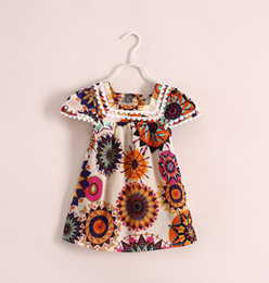 sweet summer dress short sleeves print flower casual dress chiffon girl dress little girls short dress red printed loose chiffon dress
