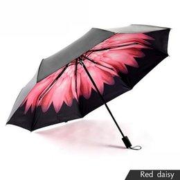 Wholesale Daisy Small Black Umbrella Black Glue UV Protection Sun Umbrella Outdoor Super Anti Sun Weatherproof Umbrella Sell Like Hot Cakes