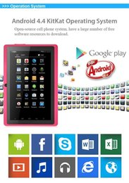 Wholesale quad core android allwinner a33 capacitive screen quot inch Dual Webcam gb gb children kids tablet pc the wifi g sensor freeshipping