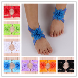 40pcs Baby Sandals Chiffon Tulle Flower Shoes Christmas Barefoot Foot Flowers Ties Infant Children Girl First Walker Shoes For Photography