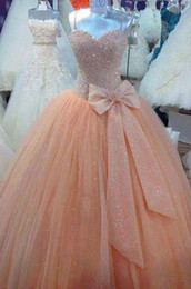 Shiny Sequined Bling Princess Ball Gown Prom Dresses Orange Vintage Quinceanera Party Dresses With Bow Spaghetti Straps Floor Length