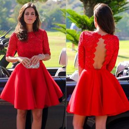 Wholesale 2015 Custom Short Red Graduation Dresses Short Sleeves Vintage High Neck Lace Bodice Cut Out Open Back Homecoming Dresses Cocktail Dresses