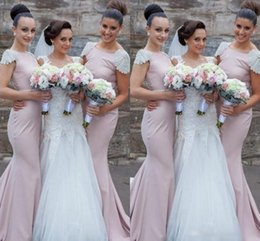 Wholesale 2016 Cheap Pearl Pink Long Bridesmaids Dresses Mermaid Bateau Beaded Capped Sleeves Belt Sweep Train Custom Made Prom Evening Gowns