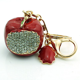 JINGLANG Fashion Keychains Gold Plated Lobster Clasp Dangle Link Chains Rhinestone Red Apple Keyrings Luxury Jewelry