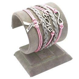 2017 ruban rose sein Grossiste-Argent Infinity Infinity Breast Cancer Amour Charm Pink Wax Cord Grey Braided Cuir PU Bracelet Ruban de sensibilisation peu coûteux ruban rose sein