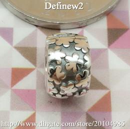 Wholesale Authentic Sterling Silver Flower Burst Clip charm Bead Fits European Pandora Jewelry Bracelets Necklaces Pendants
