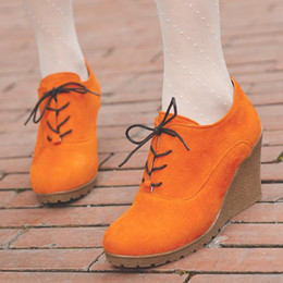New Wedges Boots Fashion Flock Women's High-heeled Platform Ankle Boots Lace Up High Heels Spring Autumn Shoes For Women
