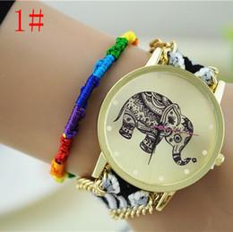 New 2015 Fashion Elephant Quartz Woven Fabric Gold Chain Bracelet Watch Women Casual Relogio Feminino Watches Ladies Wristwatch