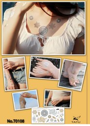 Wholesale-Temporary tattoos flash gold metallic henna temporary arabic golds temporary tattoo men arabic metallic temporary tattoo