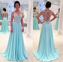 Wholesale 2016 Hot Sheer Sequined Beaded Off Shoulder Prom Dresses A Line Sweetheart Illusion Sexy Back Long Chiffon Formal Evening Dresses Party Gown
