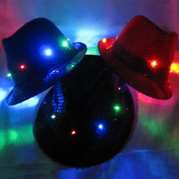 Wholesale-2015 HOT Cool LED Flashing Sequins Light Up Fedora Jazz Cap Hat Party Birthday POSTAGE FREE