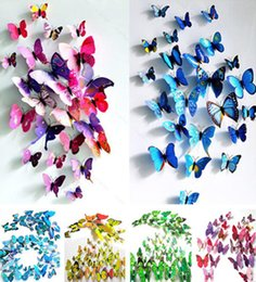12pcs 3D Novel Colorful Magnet Wall Sticker Butterfly Home Decor Room Decoration Stickers APLE Hot Sell 2016