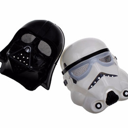 Wholesale 2 Colors Darth Vader Imperial Warrior Mask Halloween Costume Theater Props Black White Star Wars Cheap Plastic Party Masks