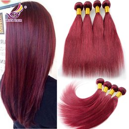7A Cambodian Virgin Hair Straight 4pcs lot Red Wine Color #99J Burgundy Virgin Peruvian Hair Bundles 8-30inch 100% Remy Human Hair Extension