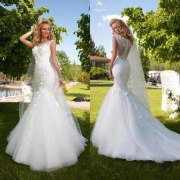 Wholesale 2016 Elegant New Arrival Mermaid Wedding Dresses Bateau Sheer Neck Lace Appliques Beautiful Fish Tails Floor Length Bridal Gown Plus Size