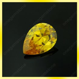 low price synthetic gems stone golden yellow color pear cut 5x8mm loose cz