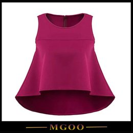Wholesale MGOO Brand Name Clothing Women Tops Summer Wine Red Sleeveless O Neck Hi Low Loose Blouse For Women