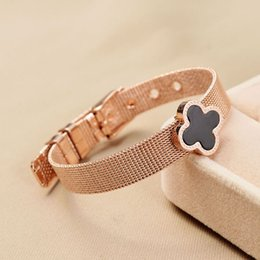 Wholesale White black clover flowers rose gold tennis wire belt buckle bracelet bangle women punk adjustable mesh bracelet SB0337