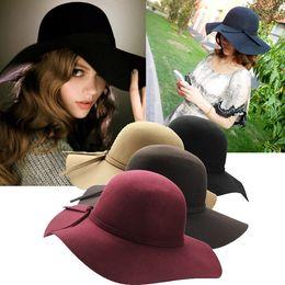 Wholesale-Fashion Women Lady Wide Brim 100% Wool Felt Bowler Fedora Hats Floppy Cloche