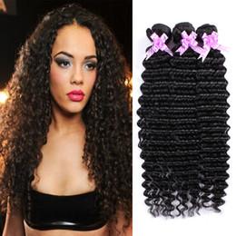 Top Deep Weave Natural Color 8A Grade Brazilian Human Hair Extensions 4 Bundles 100% Unprocessed Human Hair