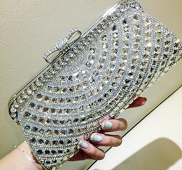Wholesale New Latest Fashion Women Wedding Bridal Handbags Crystal Rhinestone Silver Stain Metal Hard Box Bow Evening Clutch Bag Shoulder Purse