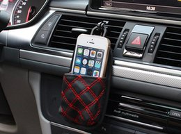 Wholesale Auto Wine Red Car Air Outlet Mobile Phone Bag Vehicle Mounted Wine Trash Debris Bags Car Air Outlet Storage Bag