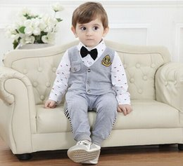 Wholesale 2016 New Fashion Baby Boy Clothing Sets Pieces Boy Suits Party Cool Wear Wear For Kids Children Apparel