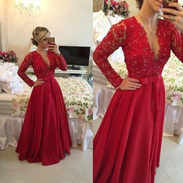 Elegant A-Line V-Neck Evening Dresses Prom Gown Beaded 2015 Floor Length See Through Red Lace Chiffon Long Sleeves Long Party Formal Ball