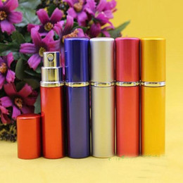 7 Colors 5CC Smooth Aluminium Compact Perfume Bottle 5ml Refillable Perfume Atomizer Travel Bottles Fragrance Glass Spray Bottles Fragrances