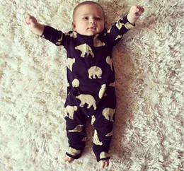 Wholesale 2016 Spring Ins Baby newborn Infant Rompers Polar Bear Printed Kids Cotton Overalls Jumpsuits Boys Girls Baby One piece Romper Black