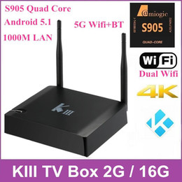 Wholesale KIII Android TV Box K3 Amlogic S905 Quad Core G G Dual Wifi Receiver M LAN Bluetooth K Kodi Media Player p