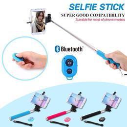 Promotion contrôleur bluetooth pour monopode Extensible Auto Selfie Stick Handheld Monopied + Clip Titulaire + Bluetooth Camera Shutter Télécommande pour iPhone Samsung gopro