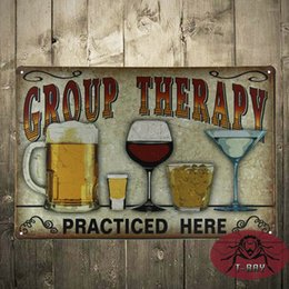 Wholesale Group Therapy Practiced Here TIN SIGN Alcohol beer wine home bar wall decor
