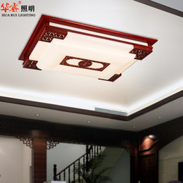 Wholesale Living room modern design LED rectangle chinese style wood carved art of faux acrylic solid wooden lamp villa classical ceiling lamp balcony